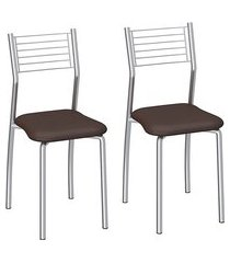 conjunto de cadeiras aço carbono compoarte berlim 2 peças c140 marrom