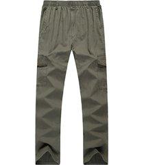 casual multi-pocket elastico in vita cotone pantaloni tinta unita plus pantaloni lunghi per uomo