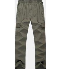 pantaloni lunghi casual da uomo in cotone elasticizzato multitasche pantaloni tinta unita plus