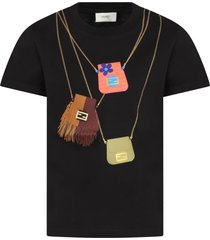 fendi black t-shirt for girl with bags