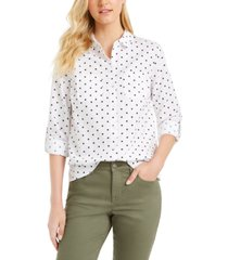 charter club petite printed button-front roll-tab-sleeve top, created for macy's