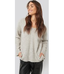 na-kd trend alpaca knitted v-neck sweater - grey
