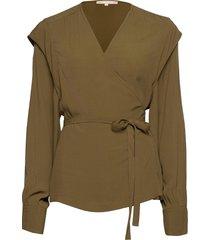 dora ls wrap top blouse lange mouwen groen soft rebels
