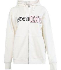 vertical cut-up logo hoodie, ivory