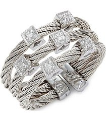 14k white gold, goldtone stainless steel multi-cable & diamond ring