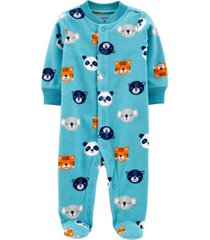 carter's baby boy animals snap-up fleece sleep & play