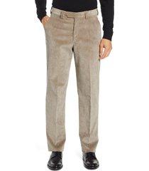 men's berle classic fit flat front corduroy trousers, size 34 - beige