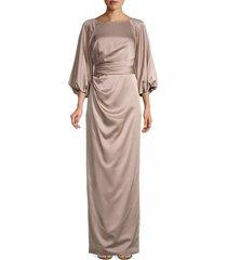 theia women's satin gown - mushroom - size 4