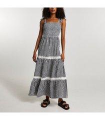 river island womens black gingham lace trim maxi dress