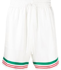 casablanca tennis striped trim silk shorts - white