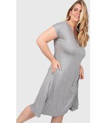 vestido gris minari bolsillos plus size