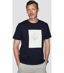 t-shirt i bomull med tryck - mörkblå