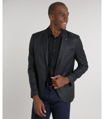 blazer masculino com dois botões gola tailleur chumbo