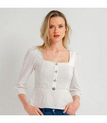 blusa para mujer en lino blanco color-blanco-talla-l