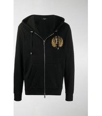 balmain embroidered crest-motif hoodie