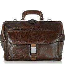 chiarugi designer doctor bags, large brown hammered leather doctor bag