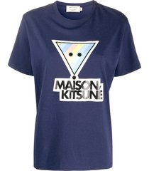maison kitsuné rainbow triangle fox t-shirt - blue