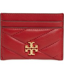 women's tory burch kira chevron leather card case - red