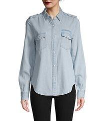 logo denim button-down shirt
