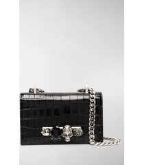 alexander mcqueen mini jewelled crocodile-embossed satchel