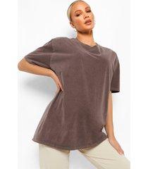 zwangerschap oversized gebleekt t-shirt, chocolate