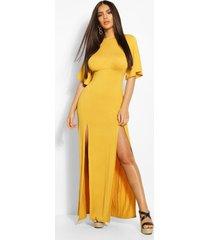 jersey curved seam midaxi dress, mustard