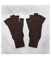 100% alpaca fingerless gloves, 'warm mahogany' (peru)
