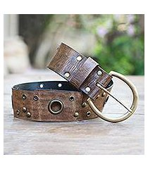 leather belt, 'antique look in brown' (indonesia)