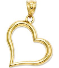 14k gold charm, open heart charm