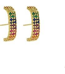 brinco infine ear hook rainbow colorido banhado a ouro - dourado - feminino - dafiti