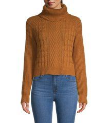 full circle women's cable-knit turtleneck sweater - brown - size xl