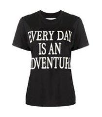 alberta ferretti camiseta com estampa de slogan - preto