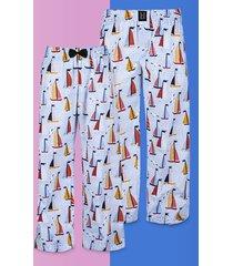 spodnie do spania dla pary piżama żaglówki