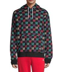 raffe multicolor slogan grid hoodie
