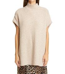 women's ganni ribbed wool blend pullover, size medium - beige