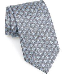men's ermenegildo zegna floral silk tie, size large - grey