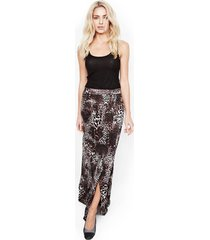 indy maxi wrap skirt - l dark leopard