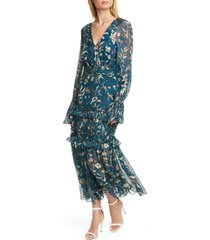 women's amur reah floral print long sleeve silk dress