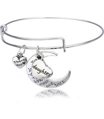daughter bracelet, i love you to the moon and back bangle, daughter jewelry gift
