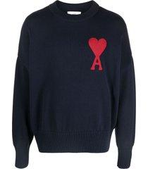 ami alexandre mattiussi blue cotton-wool blend sweater