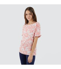 blusa manga corta flores