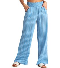 women's billabong new waves stripe wide leg pants, size large - blue