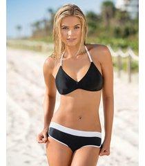 bikini de tres piezas con camiseta con fajón - swimwear negro leonisa
