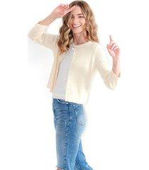 cardigan para mujer, cuello redondo, manga larga color-blanco-talla-xl