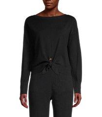 lea & viola women's tie-front sweater - black - size m