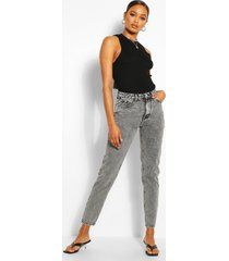 high rise classic mom jeans, grey
