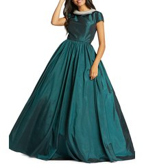 mac duggal women's taffeta ball gown - teal - size 6