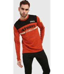 camiseta manga larga naranja-negro-beige alpinestars
