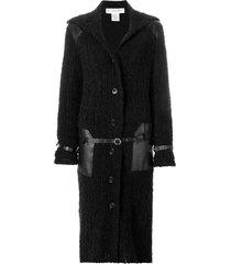 christian dior pre-owned belt detailing long coat - black