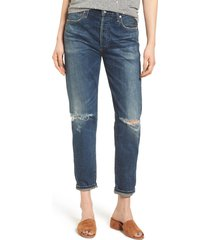 women's citizens of humanity liya high waist ripped boyfriend jeans, size 24 - blue
